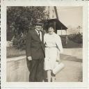 Mum & Dad on sidewalk at Pickett Street